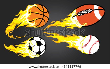 collection of burning sports ball - stock vector