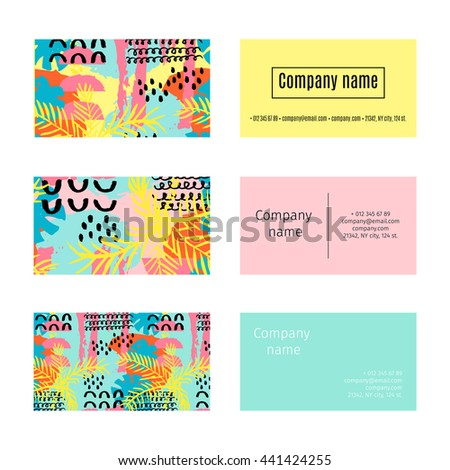 Collection business cards summer pattern palm stock vector hd collection of business cards with summer pattern with palm trees flowers leaves in memphis colourmoves