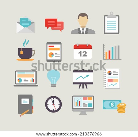 Collection of business icons in modern flat design style. - stock vector