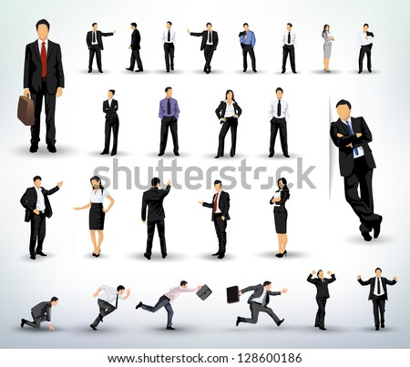 Collection of business people illustrations in different poses - stock vector
