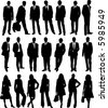 collection of business people in silhouette in different poses - stock vector