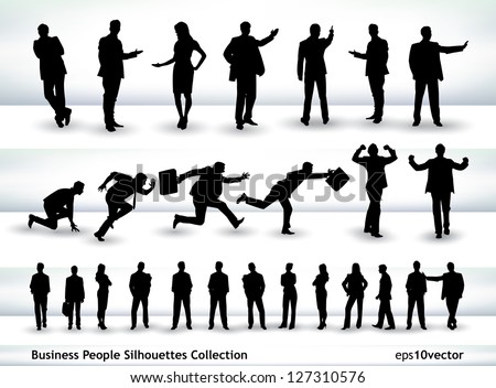 Collection of business people outlines in different positions, mainly in the theme of presentation and running - stock vector
