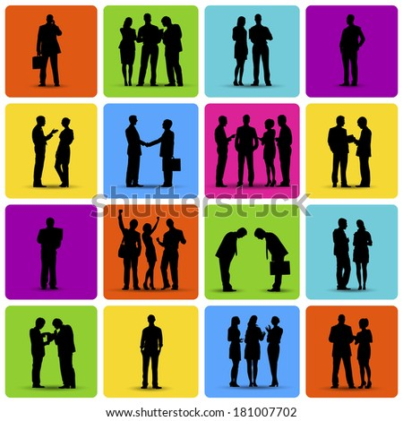 Collection of Business Situation on Colorful Background Vector - stock vector
