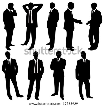 Collection of businessmen. A vector illustration