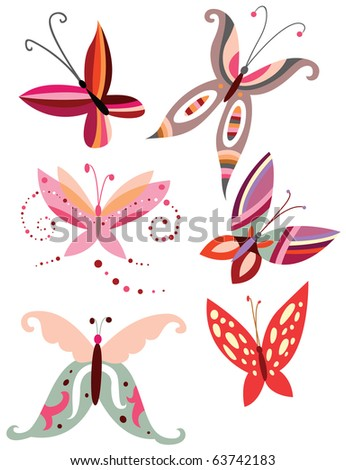 Collection of butterflies ornaments with delicate shapes and pretty colors. - stock vector