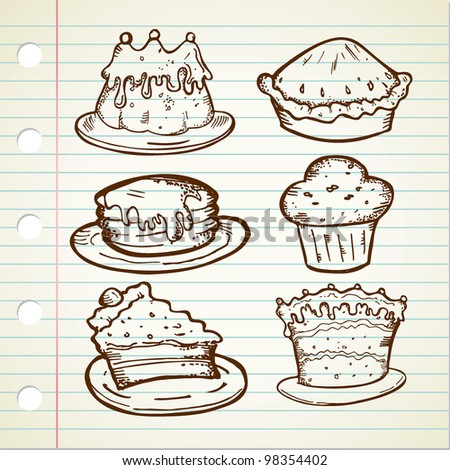 Collection of Cake Doodle - stock vector