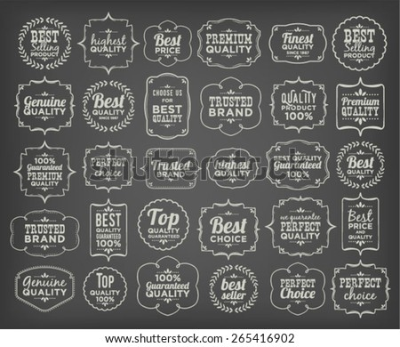 Collection Of Calligraphic And Typographic Premium Quality Vintage Design (White Word Art On Blackboard) - stock vector