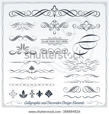 Collection of Calligraphic Decorative Design Elements - stock vector