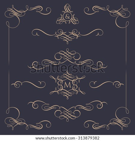 Collection of calligraphic elements. Decorative monograms and  borders. Template signage, logos, labels, stickers, cards, menu. Graphic design page. Classic design elements for wedding invitations. - stock vector