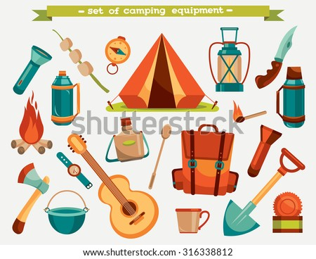 Collection of camping equipment - tent, backpack, knife, flashlight and other. Vector tourism illustration. Set of isolated objects. - stock vector