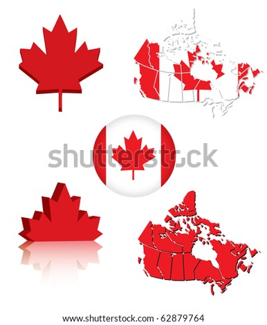 Collection of Canadian flag symbols (eps10 vector) - stock vector