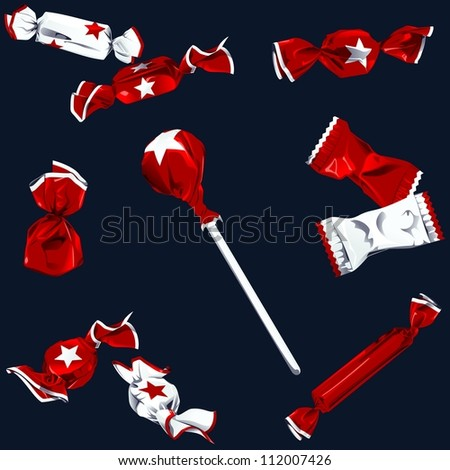 Collection of candy in shiny red and white wrappers (EPS10); - stock vector