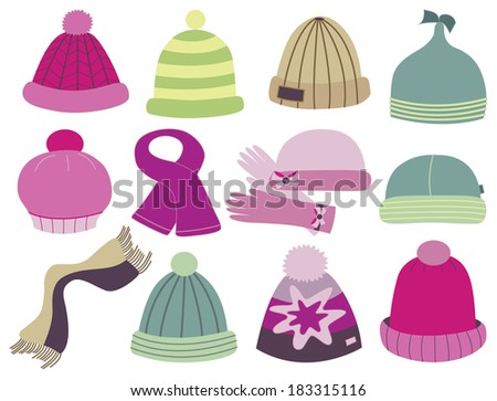 collection of caps - stock vector