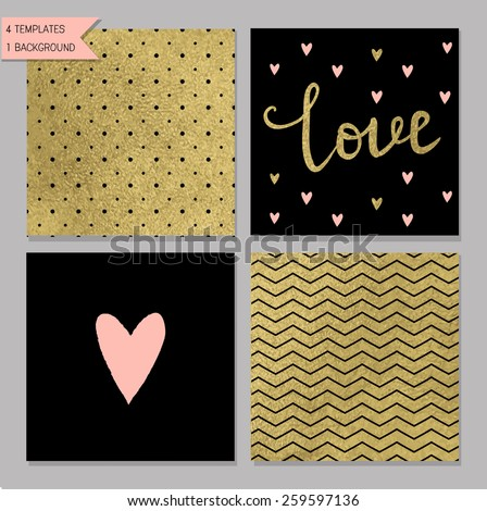 Collection of 4 card templates. Could use as seamless tile pattern. Trendy gold style  Perfect for valentines day, birthday, save the date invitation - stock vector
