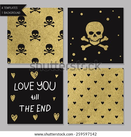 Collection of 4 card templates. Could use as seamless tile pattern. Trendy gold style  Perfect for valentines day, birthday, save the date invitation. Love you till the end - stock vector