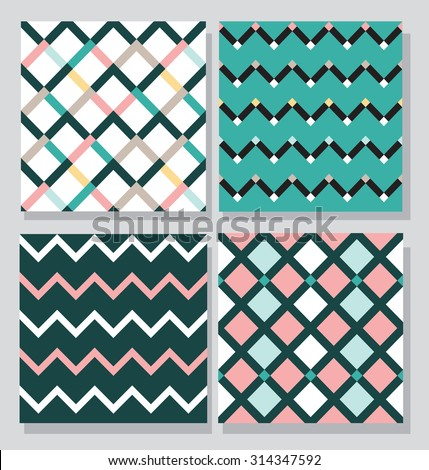 Collection of 4 card templates, seamless tile pattern - stock vector