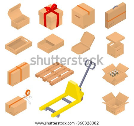 Collection of cardboard boxes. Open, closed, sealed with tape, with cover, for pizza, bottles inside. Bonus! the pallet and pallet truck. Isometric Illustration. - stock vector