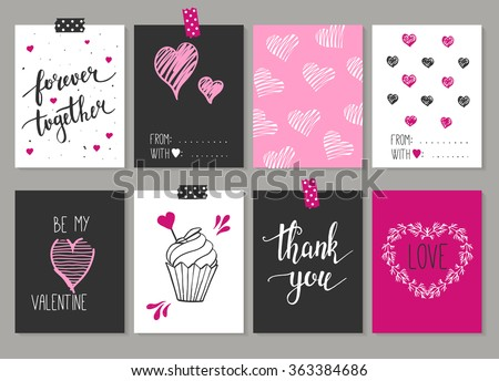 Collection of 8 cards of love design. Valentine's day Posters set. Vector illustration. Template for Greeting, Scrapbooking, Congratulations, Invitations, Planner, Diary, Notes. - stock vector