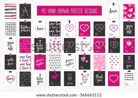 Collection of 40 cards of love design. Valentine's day Posters set. Vector illustration. Template for Greeting, Scrapbooking, Congratulations, Invitations, Planner, Diary, Notes. - stock vector