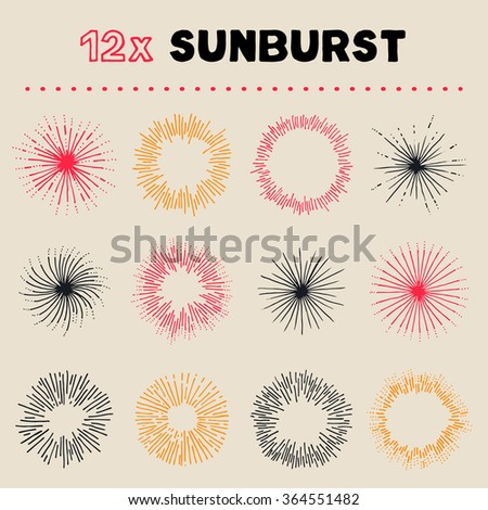 Collection of carefully designed rounded explosions. Even more explosions / or sun bursts in this handy collection. Perfect for badges or new years greeting cards. - stock vector