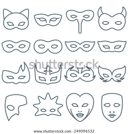 Collection of 16 Carnival and Costume Mask Line Icons - stock vector