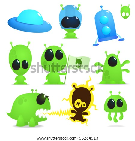 Collection of cartoon aliens, monsters and spaceships - stock vector