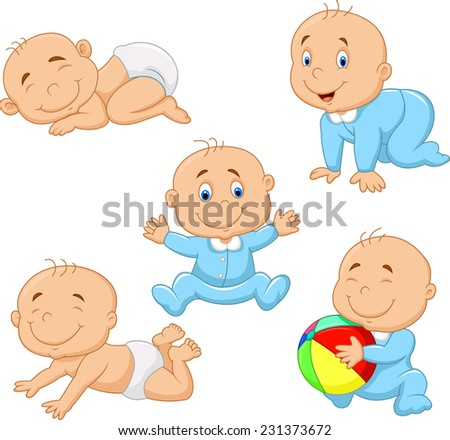 Collection of cartoon baby boy - stock vector