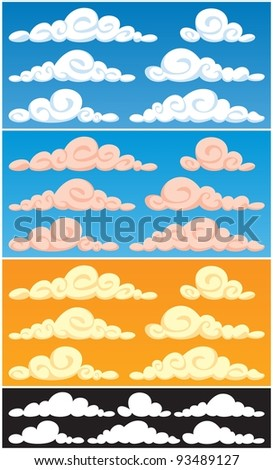 Collection of cartoon clouds in 3 color versions and silhouettes. Each cloud consists of 2 colors only, so they are very easy to recolor.