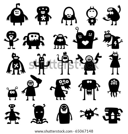 Collection of cartoon crazy funny monsters silhouettes - stock vector