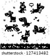 Collection of cartoon dogs silhouette. Vector. - stock vector