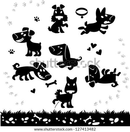Collection of cartoon dogs silhouette. Vector. - stock vector