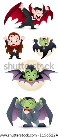 Collection of Cartoon Dracula and Vampires - stock vector