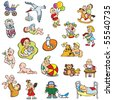 Collection of cartoon drawing of babies and children, different activities, vector illustration - stock