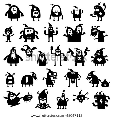 Collection of cartoon funny christmas monsters silhouettes