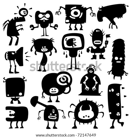 Collection of cartoon funny monsters silhouettes - stock vector