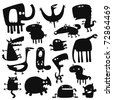 Collection of cartoon funny vector animals silhouettes - stock photo