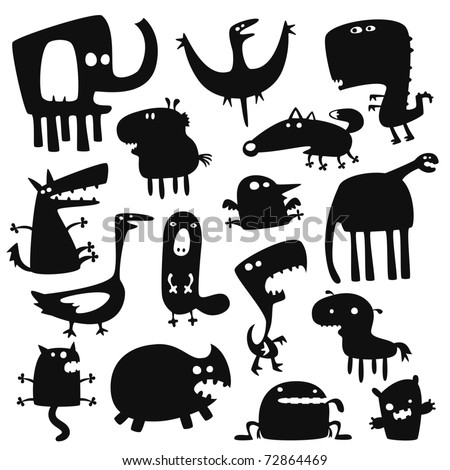 Collection of cartoon funny vector animals silhouettes - stock vector