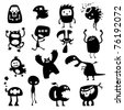 Collection of cartoon funny vector monsters silhouettes - stock vector