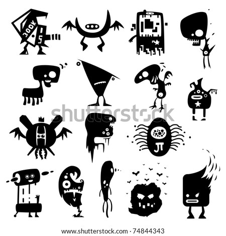 Collection of cartoon funny vector monsters silhouettes