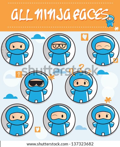 Collection of cartoon ninjas with different faces - stock vector
