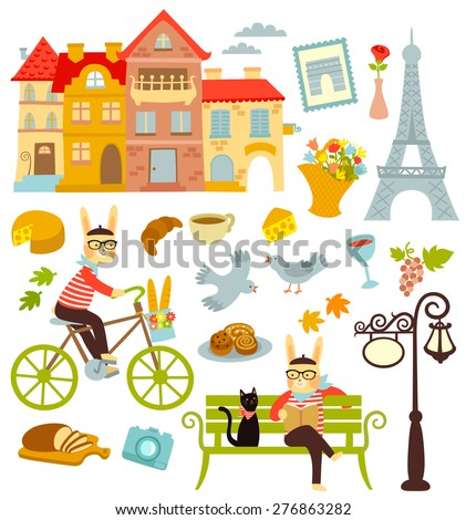 collection of cartoon symbols of Paris - stock vector