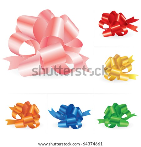Collection of celebratory bows #3. Vector illustration on white. - stock vector