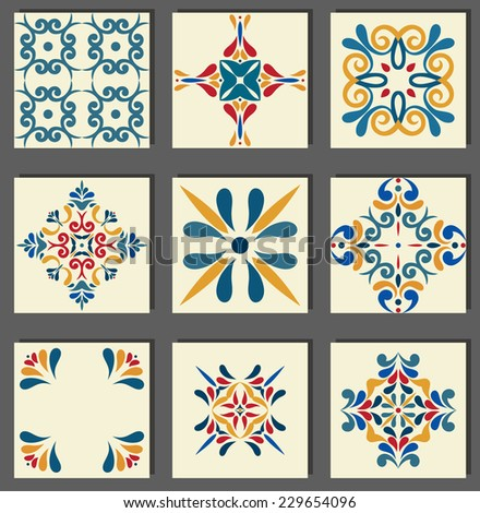 Collection of 9 ceramic tiles, blue-orange style  - stock vector