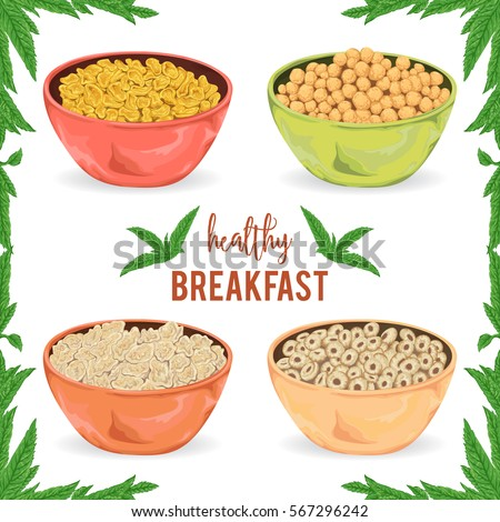 Collection of cereal porridge, granola, flakes and rings in bowl with mint leaves on white background. Healthy breakfast. Isolated elements. Hand drawn vector illustration