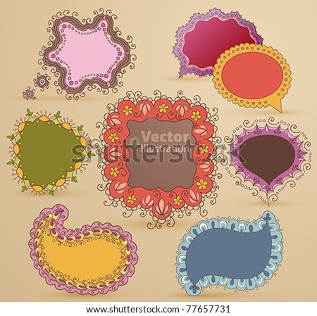 Collection of childish hand drawn speech and thought bubbles - stock vector