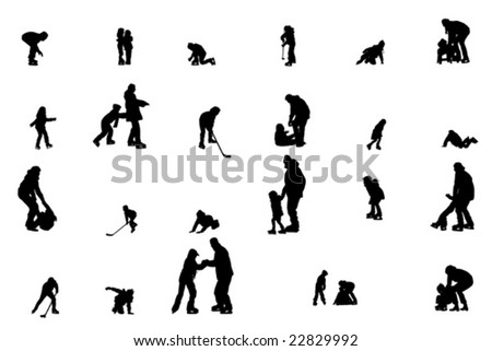 collection of children ice-skating vector silhouettes - stock vector
