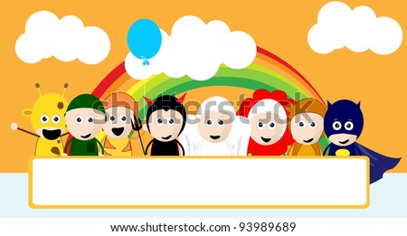 collection of children's cartoon using a costume ring with a blank sign - stock vector