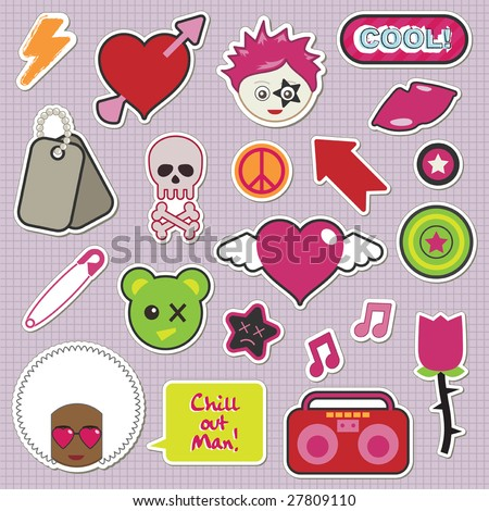collection of children's stickers - emo and pinks - stock vector