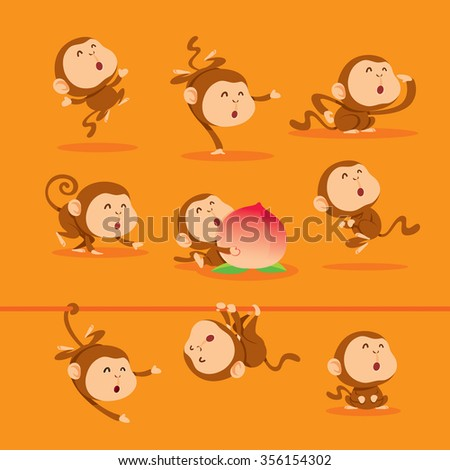 Collection of Chinese New Year monkey. - stock vector