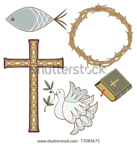 Collection of christian symbols - stock vector